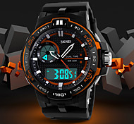 Men's Fashion Sporty Design Dual Time Zones Rubber Band Wrist Watch (Assorted Colors) Cool Watch Unique Watch