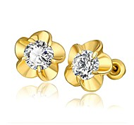 Mode Kristall Blume goldenen vergoldeten Ohrstecker (goldenen) (1 Paar)