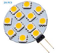 20 stuks G4 1.5W 12 SMD 5050 70 LM Warm wit / Koel wit LED-spotlampen AC 12 V