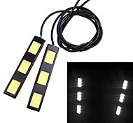 1Pair 6W COB 3-LED Car Daytime Running Light Bar DRL Driving Lamp White 12V