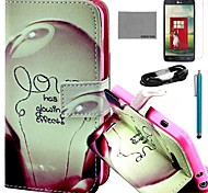 COCO FUN® Love Lamp Pattern PU Leather Full Body Case with Screen Protector and USB Cable and Stylus for LG L90