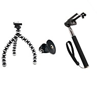 Self-timer Set (Small Tripod, GOPRO Adapter, Black Self-pole, Mobile Phone Clip)