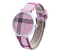 Women's Tartan Diamond Circular Belt Chinese Movement Watch(Assorted Colors)