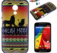 The Lion Pattern PC Back Cover Case With Dustproof plug for Motorola G2