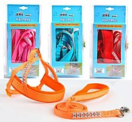 Pure Colour Nylon Rhinestone Decorated Harness with Leash for Pet Dogs(Assorted Colours,M)