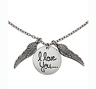 Fashion Personality Valentine Angel Wings Love You Necklace