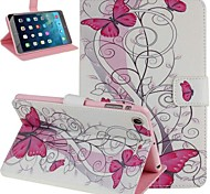 Pink Butterfly Pattern PU Leather Flip Protective Case Cover for iPad Air 2
