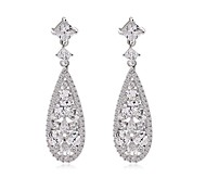Classic And Elegant Women Fashion Long Dangle Plated Water-Drop CZ Diamond Crystal Drop Earrings GiftsImitation Diamond Birthstone