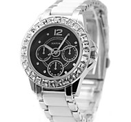 Woman Ladies  Black Dial Round Ceramic Watchband Water Resistant Quartz Watch FW830J