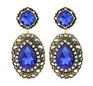 New Trends Blue Rhinestone Hanging Stone Earrings