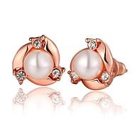 moda perla rosa oro rosa orecchini in oro placcato (oro rosa) (1pair)