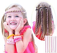 6Pcs 24cm Pink Children's Curly Hair Rope