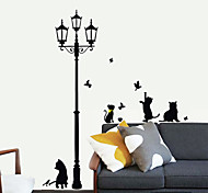 Lovely Cats Under The Light PVC Wall Stickers Wall Art Decals