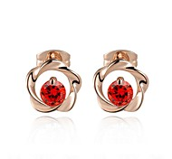Concise Style Red Austrian Crystal Flower Stud Earrings Fashion Jewelry Crystal Stellux Cubic Zirconia