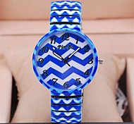 Women's Fashion Paint Blue Printing Steel Watch Circular High Quality Japanese Watch Movement