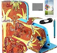 Coco Fun® patrón elefante naranja caso de cuero de la PU con el cine y cable usb y el lápiz para i9500 Samsung Galaxy S4