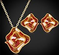 U7®Fancy Flowers Pendant Necklace Stud Earrings 18K Real Gold Plated Jewelry Set for Women Jewelry Set