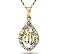 wholesale and retail 14K Gold Plated Allah Pendant Necklace, Free Shipping and men women CZ Pendant Necklace