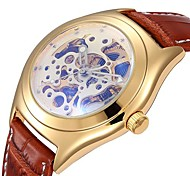 Men's Classic Skeleton Dial PU Leather Band Automatic Self Wind Wrist Watch (Assorted Colors)