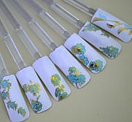 24pcs mélanger fleurs d'or sur fond bleu autocollant nail art ongles décorations