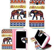 KARZEA™ Tribes Elephants PU Leather TPU Back Full Body Case Painting Card Holder Wallet Case for Samsung A3/A3000