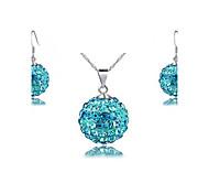 Blue shambhala drill ball earrings + necklace two-piece (1 set)