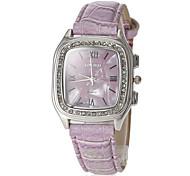 Women's Square Dial Purple PU Band Quartz Wrist Watch