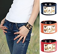 European And American Fashion Wide Leather Wristband Four Square Rivet Leather Bracelet (Multicolor)