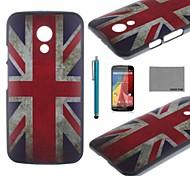 copertura della cassa coco fun® uk modello di bandiera pc duro indietro con la protezione dello schermo e lo stilo per Motorala moto g2 xt1063