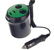 WF-0309A 1-to-2 Car Cigarette Lighter Power Splitter Adapter with Dual-USB Output (Black and Green)