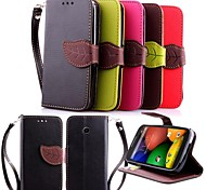 KARZEA™ Leaf Snap PU Full Body Case with TPU Back Cover Stand for Motorola MOTO E (Assorted Colors)