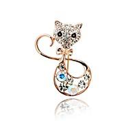 Cute Little Cat Color Diamond Brooch