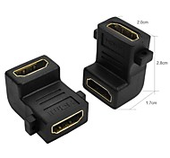 Right Angle Design HDMI Female to Female Adapter Converter - Black