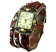 Women's Watch Bohemian Three -Breasted Leather Weave Bracelet(Assorted Colors)