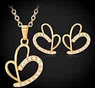 u7®multilayer pendientes corazón 18k oro verdadero plateado platino rhinestone aretes collar colgante conjunto de joyería de moda