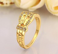Fashion Geometry Women Golden Zircon Statement Rings(Golden)(1Pcs)
