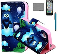 COCO FUN® Balloon Owl Pattern PU Leather Case with Screen Protector and Stylus for iPhone 4/4S