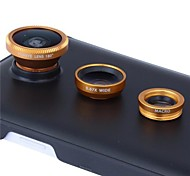 3 en 1 lentille de la caméra kit fisheye grand angle et add-on macro pour Samsung Galaxy Note 4 avec étui (de couleurs assorties)