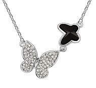 Butterfly in Couple Short Necklace Plated With 18K True Platinum Jet Black Crystallized Austrian Crystal Stones