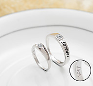 Personalized Gift Simple 925 Sterling Silver Couples Ajustable Rings
