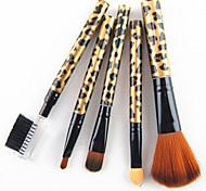 5pcs Nylon Haar goldenen Leoparden-Design Griff Kosmetik Pinsel-Set