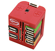 WDM-88 All In One Extension Socket with USB HUB 2.0 Card Reader 5V Power Assorted Colors