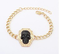 Punk Fashionable Alloy Skull Bracelets (1 pc, Black / Yellow)