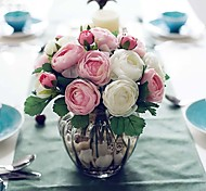"""9.1""""H Ten Heads Artistic Tea Roses The Same Color 2 bunches"""