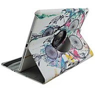 Fashion Praint Feather Big Campanula Rotated PU Cases with Stand for iPad Air 2