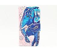 éléphant bleu avec cadre photo en cuir PU Housse avec support et une carte slot pour iphone 5 / 5s