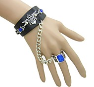 European And American Eagle Blue Diamond Ring Anime Punk Leather Bracelet