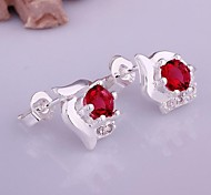 Fashion  (Palm)  Silver Plated (Red) (1 Pair)