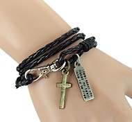 European And American Popular Non-Mainstream Laps Wound Hanging Cross Leather Bracelet