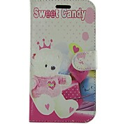 Cartoon Bear PU Leather Full Body Wallet Protective Case with Stand for Samsung Galaxy S Advance I9070